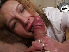 Nasty blond mature sucks out his cum