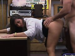 Natural tits and nice ass babe rammed in the pawnshop