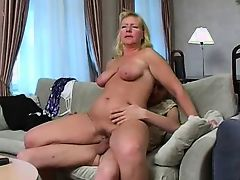 Some nice hangers on this blonde mature