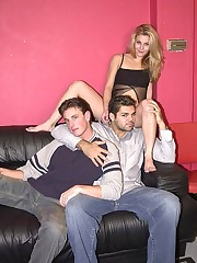 Hot babe joins two bi guys fucking