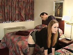 Julie Simone in nylons spanked by her master