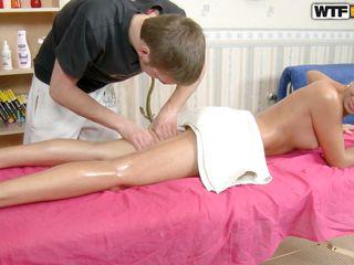 cute girl gets a nice massage