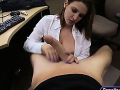 Horny pawnkeeper made a deal with a big boobs business lady