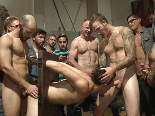 gay gang banged and jizzed all over his face