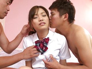 two boys playing with a slutty teen