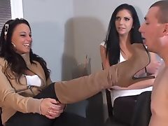 Slave humiliated by sexy mistress with boots. femdom - cei