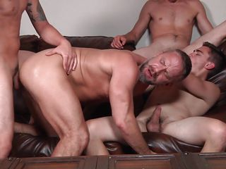 four hot gays explode in a jizz orgy