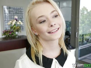 sweet blonde teen deepthroats