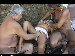 OmaPass Two old men fucking very old BBW Granny