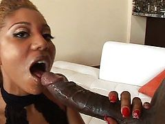 Ebony babe loves being filled with man cream