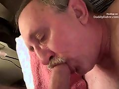 Hairy Silverdaddy Grandpa Sucking my Uncut Cock
