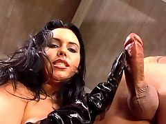 Handjob with black PVC gloves