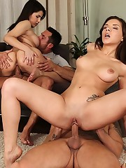 Sexy petite brunets eat each othe rout and ask   their men to join in the fun and they all have an   orgy
