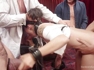 brunette bitch with collar gets fucked