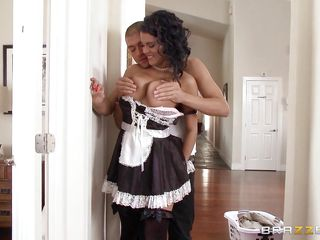 brunette maid gives in to lusty guy