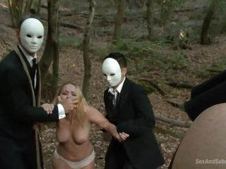 running bitch gets caught by horny masked guys