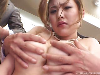 horny asian dudes get on two busty co-workers