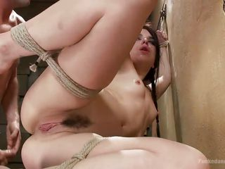 bonded brunette gets roughly fucked
