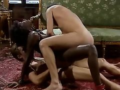 Ebony slave gets dped by white masters