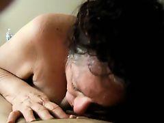 Horny experienced grandma blowing cock
