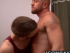Matt Stevens thrusts big cock in his tight ass after rimming