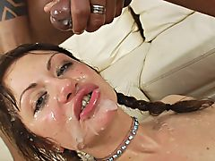 Anita Blasted by Ropes of Cum in a Gang Facial