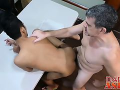 Horny asian twink gets his asshole streched by his boss