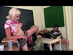 Old and Young Threesome in the classroom
