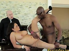 Milf has interracial sex