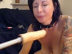 amazing webcam busty girl dildo bj with machine