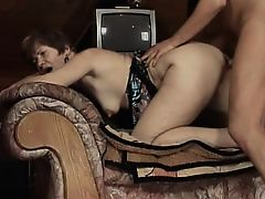 Gorgeous GILF gives in to temptation and rides a young boner
