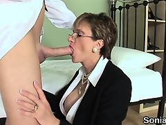 Cheating english milf lady sonia pops out her big boobies