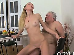 Fascinating young chick gives passionate ride to an old dude