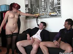 Business mature lady double slammed