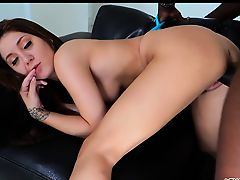 Seductive Jojo Kiss gives her tight pussy a interracial fuck