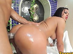 Bigtitted latina tgirl bouncing booty on cock