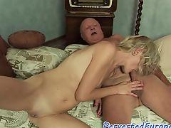 Pissing babe banged by grandpa