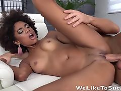 Brazilian gets fucked hard before taking pussy creampie