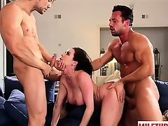 Brunette milf threesome and facial