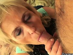 Skinny granny prostitute takes big cock from behind