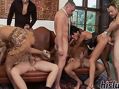 Raunchy orgy session with two hot sluts