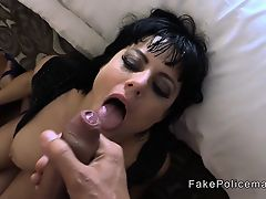 Fake cop gives ass to mouth to brunette babe