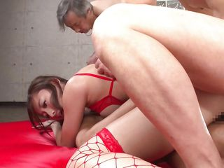 asian milf getting fucked by several cocks at once