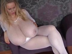 Huge Tits Blonde Stepmom Rocking Her Fishnet