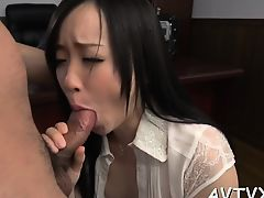 Fellow fingers and toys japanese babe's shaggy beaver