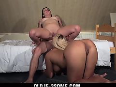2 Virgins Jump on Grandpa Cock And fucks His Brains Out