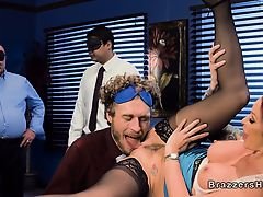 Huge tits redhead boss bangs in office