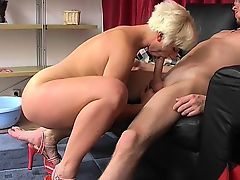 Horny busty blonde MILF knows how to please young cock