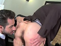 Lascivious gay guys want eachother for sex at the office