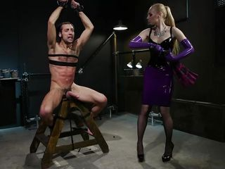 blonde dominatrix fucks her sex slave
